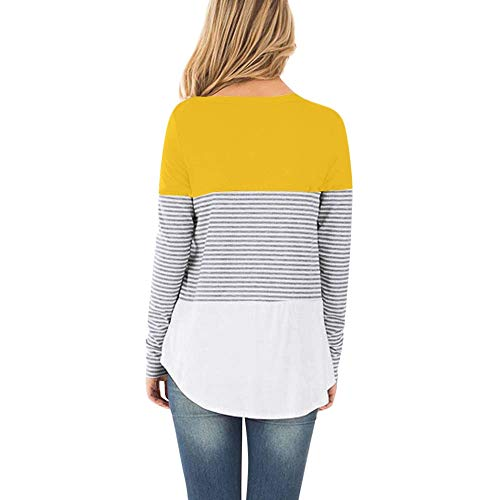 Lovygaga Maternity Tops,Summer Classic Color Block Striped Long Sleeve Nursing Baby Tee Shirt Blouse for Pregnant Mom Yellow ()
