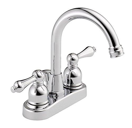(DMH Two Handle Gooseneck Spout 4-Inch Centerset Bathroom Lavatory Sink Faucet, Polished Chrome)