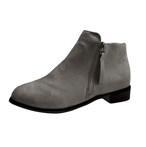Nevera Style Ladies Flock Ankle Boots Low Heel Spherical Toe Aspect Zipper Winter Out of doors Cozy Western Booties Grey