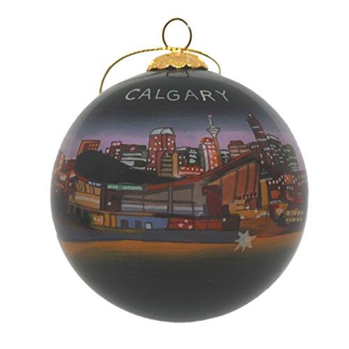Hand Painted Glass Christmas Ornament - Calgary, Canada Skyline ()