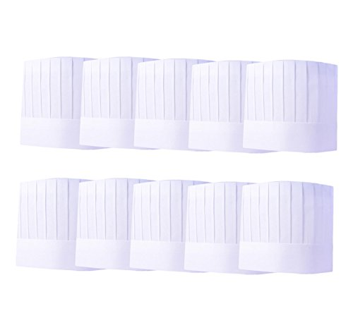 Nanxson(TM) 10 Pack Hotel/Kitchen Cooking White Chef Works Disposable Hat CF9003 (Midi straight)