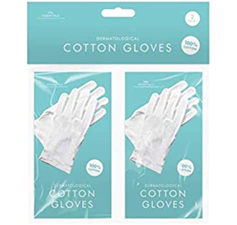 Play-tec Bisou - Guantes de algodón dermatológicos, fabricados con 100% algodón, suave y cómodo, ayudan a proteger la piel dañada, lavables en agua tibia y jabón, ligeros y de larga vida, talla
