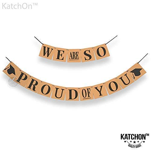 We are So Proud of You, Graduation Banner - No-DIY Required, Classy Kraft Paper Banner | Graduation Decorations for Graduations Party Supplies 2019, Grad Party Decor for Prom Decorations, Large ()