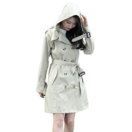 VVFamily Women's Hooded Rain Jacket Belted Trench Jackets Waterproof Lightweight Raincoats Windbreaker Outdoor Coats (M-Lady, Off-White)