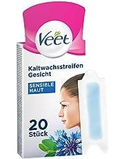 Veet Koudwasstrips met Easy-Gelwax Technology – voor het gezicht – geschikt voor de gevoelige huid – tot 28 dagen gladde huid – 20 x dubbele strepen