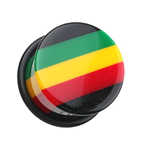 Rasta Single (Rasta Jamaican Stripe Single Flared Ear Gauge Freedom Fashion Plug (Sold by Pair) (00 GA))