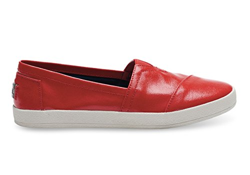 Toms Avalon Sneaker Red Patent Linen Womens 9
