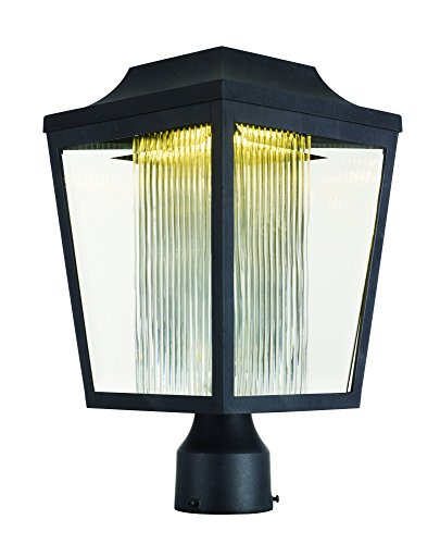 Maxim 85630CLCRAR Villa LED Outdoor Post, Anthracite Finish, Clear / Clear Ribbed Glass, PCB LED Bulb , 60W Max., Dry Safety Rating, Standard Dimmable, Shade Material, Rated - Finish Anthracite
