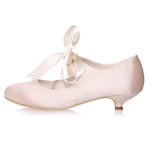 da d'Onore 3 Scarpe Toes cm Champagne Tacco Nastro Chiuso Dress Sandali Kitten Elobaby Sposa 5 da da Sposa Donna Damigella 6tAnqZx