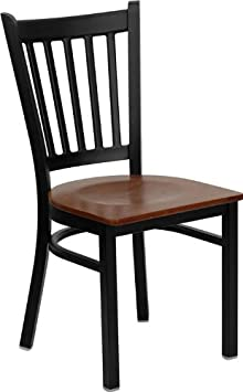 img buy Flash Furniture HERCULES Series Black Vertical Back Metal Restaurant Chair - Cherry Wood Seat