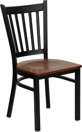 Flash Furniture HERCULES Series Black Vertical Back Metal Restaurant Chair - Cherry Wood Seat by Flash Furniture