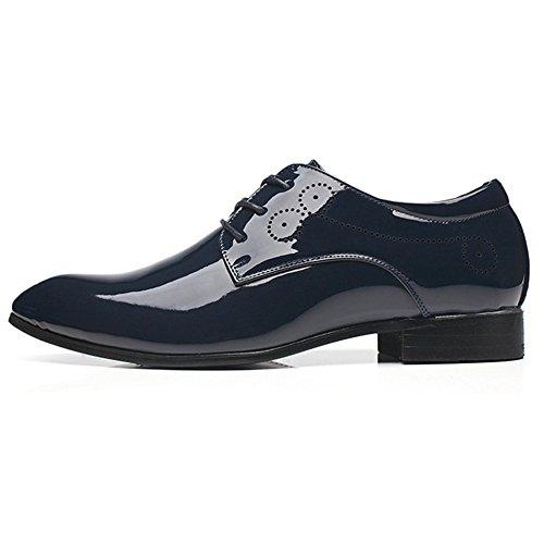 Banquete Vendimia Charol La Acentuado Zapatos De Ocasionales Negocios Blue Hombres Pie De Los De Dedo Cuero Derby De Del Boda De Zapatos Brogue De Pelo Caballero Del Del Estilista De YwfwqpU1
