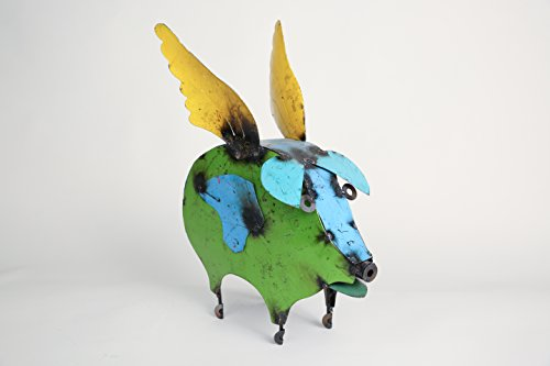 Small Flying Pig-Recycled Metal Animals-Art ()