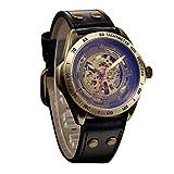 Men's Fashion Watch Tronet Hollow Steampunk Watch Men's Leather Retro Men's Automatic Mechanical Watch