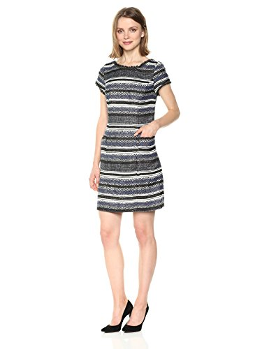 Adrianna Papell Women's Herringbone Stripe Shift, Navy/Black, 4