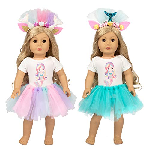 Ecore Fun 2 Sets 16-18 Inch Doll Clothes Outfits Mermaid Pattern Tulle Dresses Accessories for America 18 Inch Girl Doll Ideal Gift for Girl ()