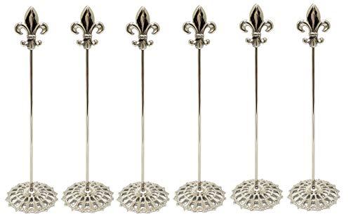 Home Decoration Accessories Fleur di lis Place Card Holder Table Card/Number Holder Recipe Holder Filigree Design Base Silver Color Solid Brass 12