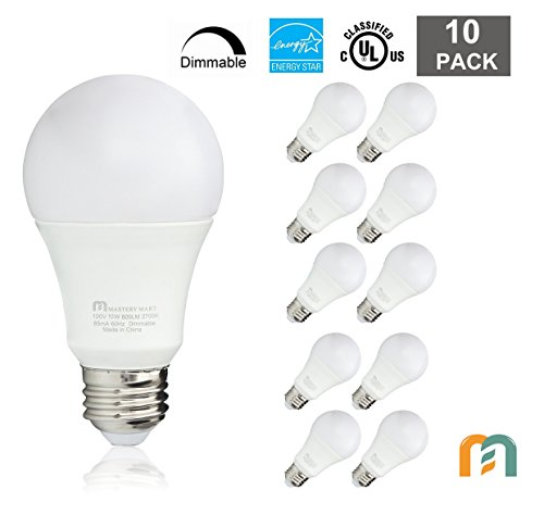 Led Light Bulbs 10 Watt [60 Watt Equivalent], A19 - E26 Dimmable, 2700K Soft White, 800 Lumens, Medium Screw Base, Energy Star, UL Listed by Mastery Mart (Pack of 10)