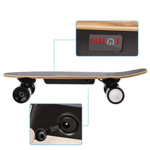 Profun Skateboard Electrique Planche à roulettes Longboard avec Télécommande et Système de Démarrage de Poussée Vitesse 10-20km/h pour Enfants/Adolescents/Adultes