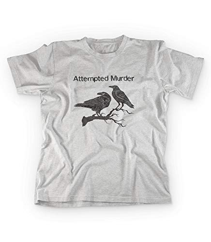 Revel Shore Attempted Murder T Shirt Funny Crow Flock Bird Pun Novelty Graphic Tee (X-Large)