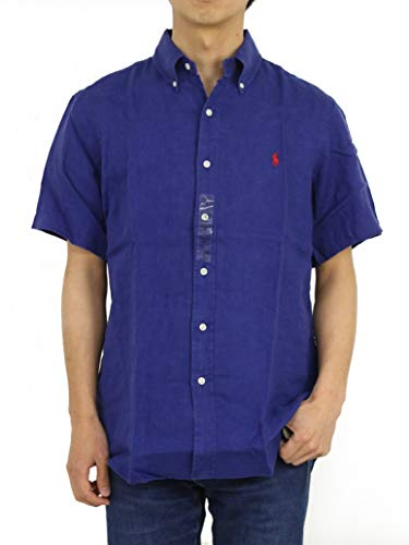 (Polo Ralph Lauren Men's Linen Button Down Shirt,Navy,Medium)