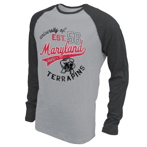NCAA Maryland Terrapins Men's Baseball Long Sleeve, Medium, Premium Heather/Black Heather