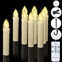 Windows Candles, PChero 10 Packs Warm White Battery Operated Waterproof LED Flameless Taper Ivory Floating Candles with Remote Timer and Dimmable, Perfect for Home Indoor Outdoor Christmas Trees Decor