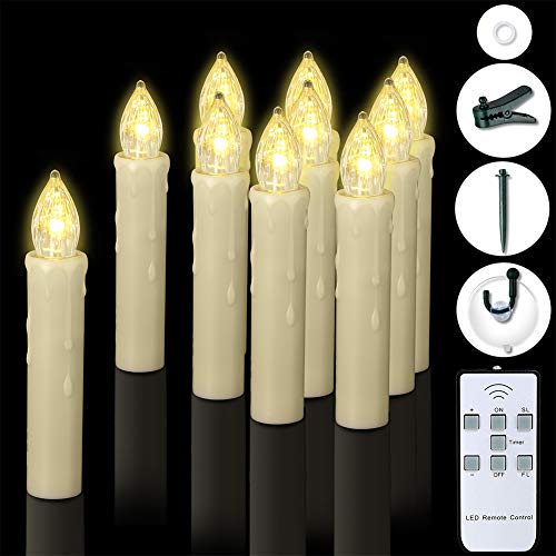 Window Candles, PChero 10 Packs Warm White Battery Operated Waterproof LED Flameless Taper Ivory Floating Candles with Remote Timer and Dimmable, Perfect for Home Indoor Outdoor Christmas Trees Decor (Solar Window Candles)
