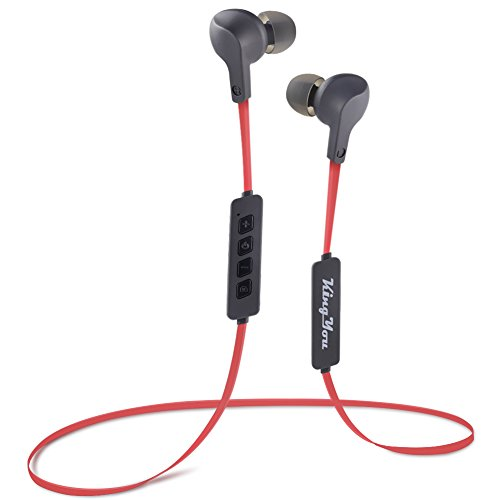 Bluetooth Earbuds Kingyou Wireless Sports Headphones Super Comfort in Ear Magnetic Earphones with Built in Microphone Sweatproof for Gym Workout Running Jogging 8 Hours Play time (Red & Black)