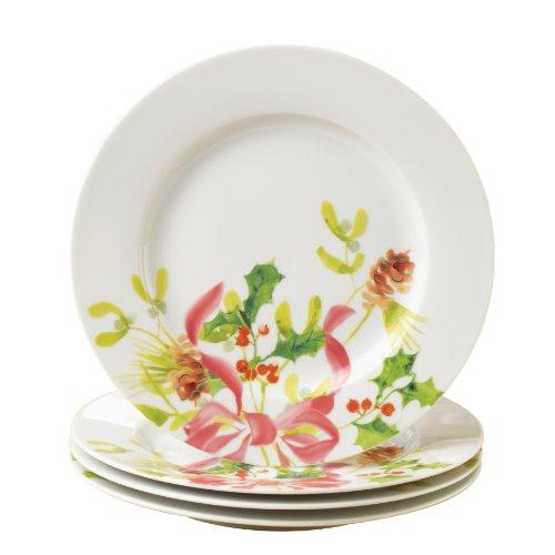 Paula Deen Christmas Wreath Porcelain 8-Inch 4-Piece Dessert Plate Set
