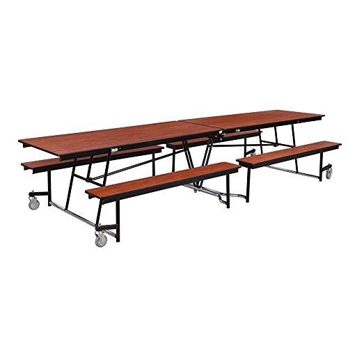 TableTop king Seating MTS10 10 Foot Mobile Cafeteria Table with Particleboard Core and 12 Stools