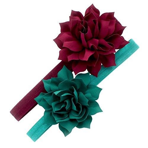 My Lello Baby Petal Flower Headbands Mixed Colors 2-Pack (Wine/Jade) ()