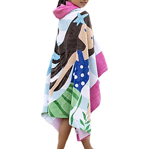 100% Cotton 400 GSM Hooded Poncho Towel,Mermaid Cute Cartoon