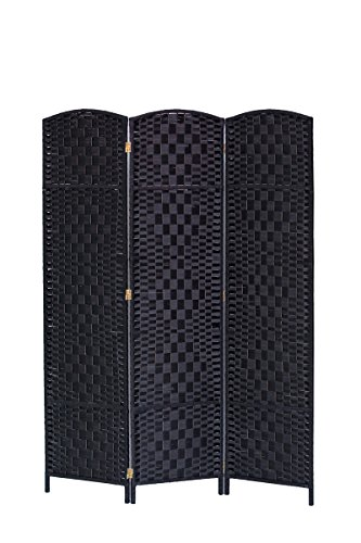 Legacy Decor 3 Panel Diamond Weave Fiber Room Divider, Black Color 3 Panel Black Room Divider