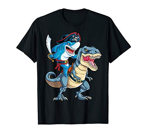 Pirate Shark Dinosaur T rex T Shirt Cowboy Jawsome Boys Kids ()