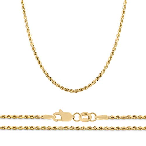 Orostar 10K Yellow Gold 2.3mm Diamond Cut Rope Chain Necklace, 16