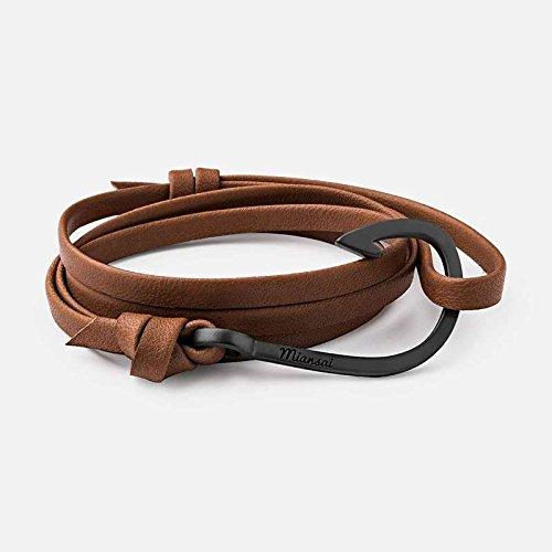 Miansai Black Hook on Leather Bracelet - Brown