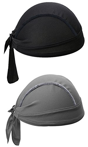 - SUNLAND Cycling Bandana Dew Rags Doo Rags Adjustable Skull Cap Beanie Scarf Grey and Black