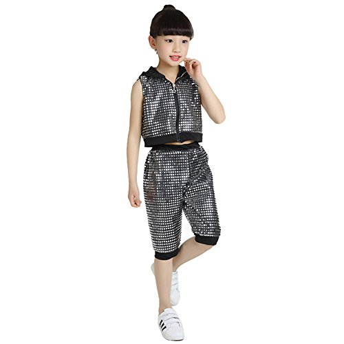 LOLANTA Girls Boys Sleeveless Sequins Jazz Hip Hop Costume Street Dance Outfit (7, Black) by LOLANTA