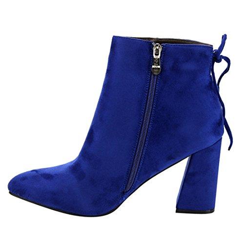 Beston DE05 Womens Drawstring Ankle High Side Zip Block Heel Booties Run Small Royal Blue s5PBNszh3