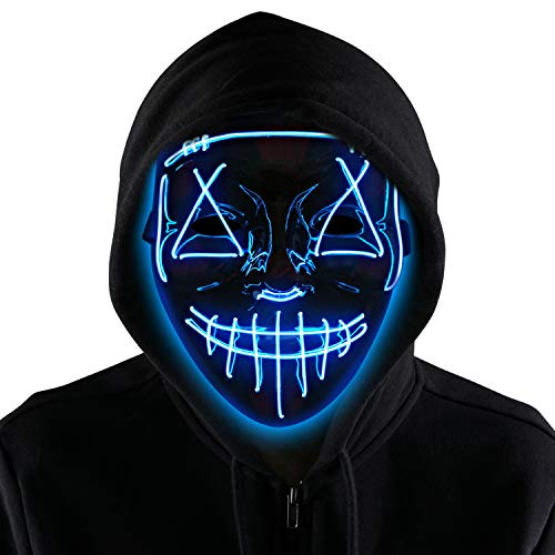 Halloween LED Purge Mask Light up Scary Mask Cool Costume EL Wire for Halloween Cosplay Festival Parties fit Adults Kids