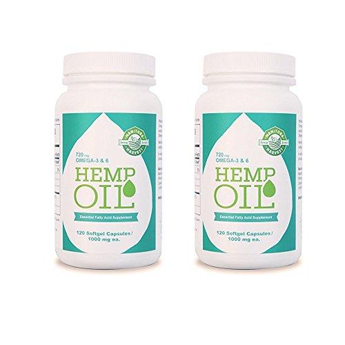 Manitoba Harvest Hemp Oil Soft Gels, 1000 mg; 120 Count (Pack of 2)