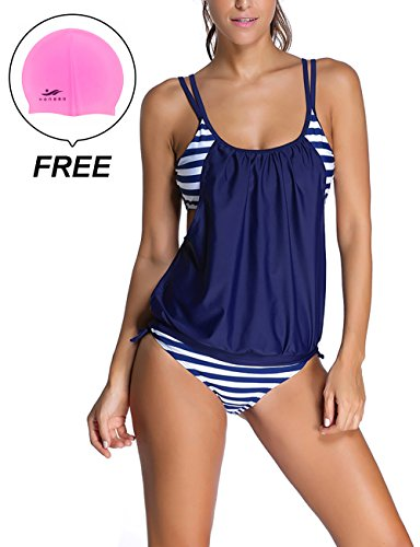 Woman's Striped Double Up Top Padded Tankini 2 Pieces Swimsuit by Lifeisbest(XXXL(22-24)-3#) (50s Haircuts)