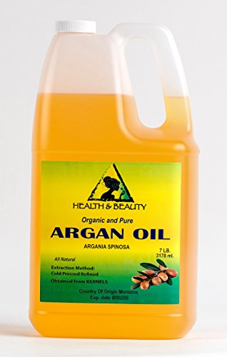 Argan Oil Refined Organic Moroccan Marrakesh Cold Pressed 100% Pure Hair Oil 128 oz, 7 LB, 1 gal by H&B Oils Center Co.