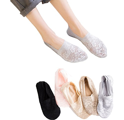 Women's No Show Socks, 5 Pack Bamboo Fiber Non Slip Flat Boat Invisible Low Cut Liners Sports Ankle Socks (Mix Colors) ()