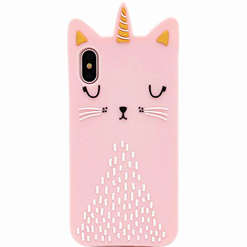 """Funermei Cat Unicorn Case for iPhone XR 6.1"""",Silicone 3D Cartoon Design Animal Pink Cover,Kids Girls Teens Cool Cute Cases,Kawaii Fun Soft Gel Rubber Unique Character Funny Chic Protector for iPhone"""