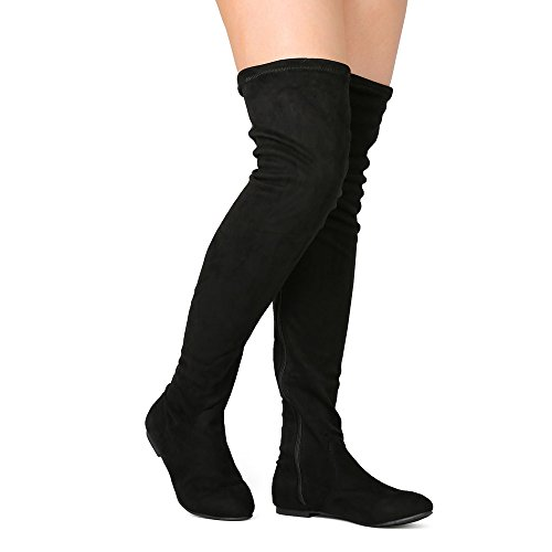 Black Stretch Thigh High Boots (NATURE BREEZE Vickie-41TH Women's Stretchy Thigh High Flat Heel Boot-Black6)