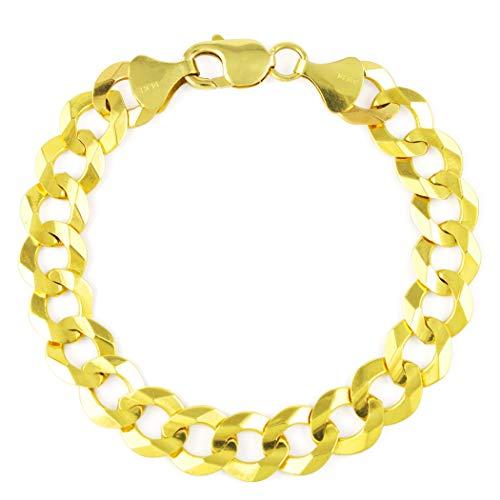 9 Inch Curb Chain Bracelet - Men's 14k Yellow Gold Solid 10mm Cuban Curb Chain Bracelet, 8