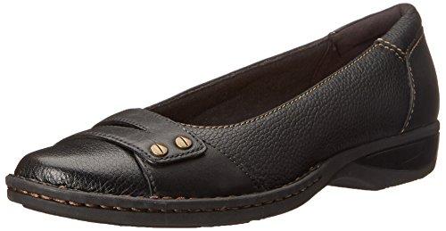 CLARKS Women's PEGG Abbie Flat, Black Leather, 7 M US
