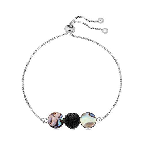 SENFAI Black Lava Rock Abalone Shell Beaded Charming Bracelet Hand Accessory for Women Adjustable 10'' (Silver 1) by SENFAI